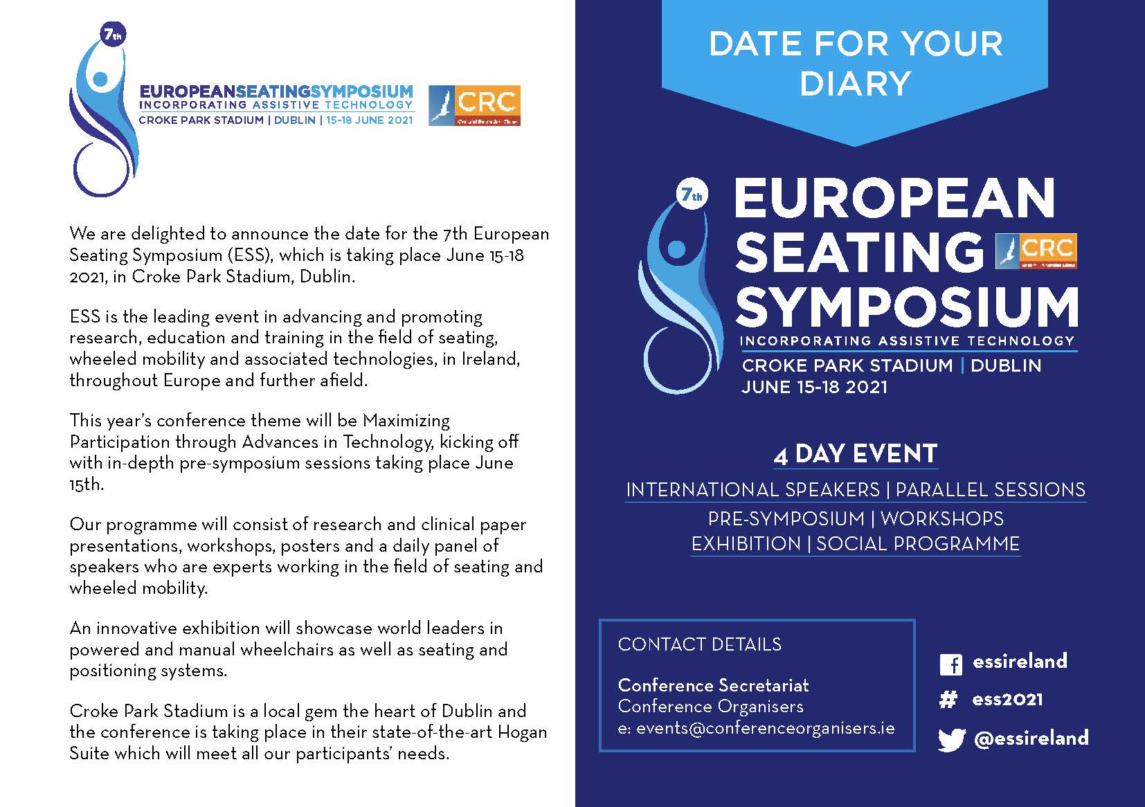 AOTI The 7th European Seating Symposium returns to Dublin - rescheduled to 15 - 18 June 2021 image